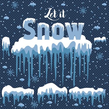 Let it snow design element on blue illustration.