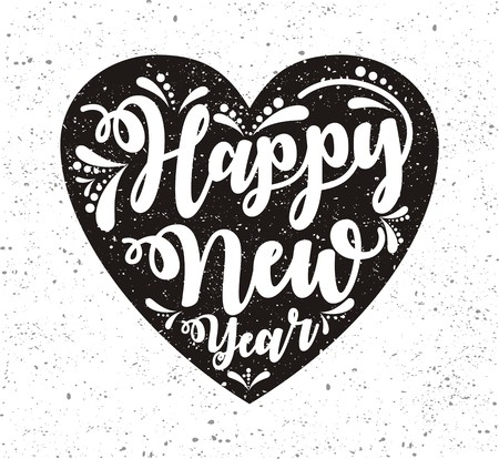Happy New Year greeting card in black heart on grunge background. Vector illustration. Foto de archivo - 99658075
