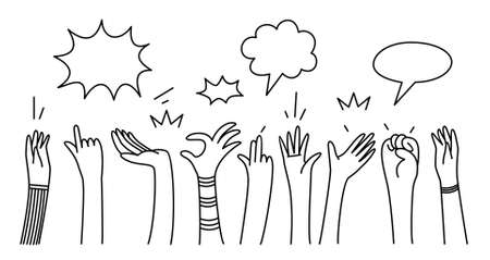 hand drawn of hands clapping with comic speech bubble. applause, thumbs up gesture on doodle style , vector illustration