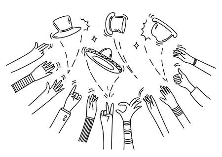 Human Hand gestures and various hats, signals and signs.Various gestures of human hands.