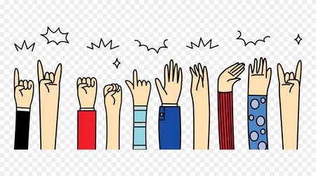 Human Hand gestures, signals and signs.Various gestures of human hands
