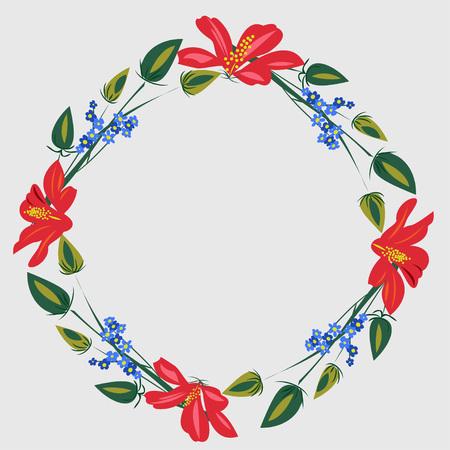 Round flower frame. Vector illustration for postcards, design, ads, posters, advertising