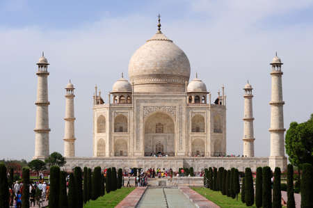 Beautiful Taj Mahal from reflection pool - Agra, India Stock Photo