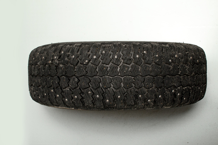 tread: old car tire tread worn dirty
