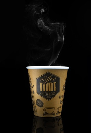 takeout: Take-out coffee in thermo cup. Isolated on a black