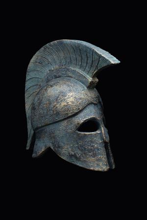 hoplite: Spartan military helmet in the background
