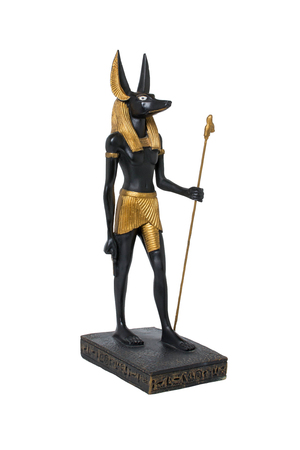 scepter: ancient Egyptian statue of Anubis Stock Photo
