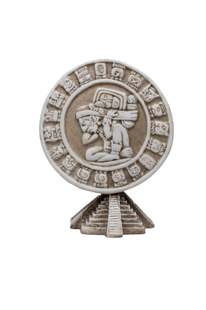 Mayan medallion on a white background