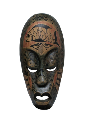 allegory painting: African mask on a white background