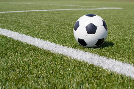 le football dans le stade où la pelouse verte