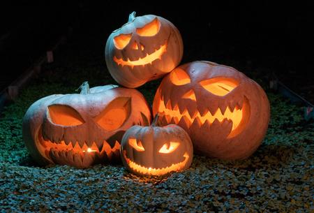 Group of evil pumpkins