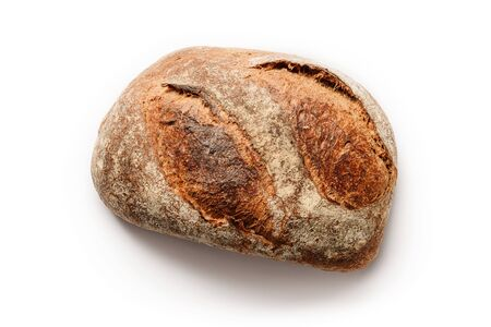 Loaf of homemade rustic bread isolated on a white background. Home bakery concept.               版權商用圖片