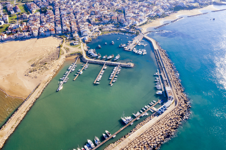 aerial view of a port in Sicily with moored boats