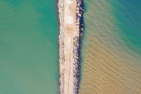 aerial view of breakwater in port in sicily