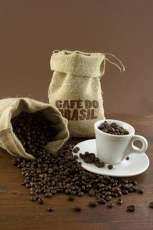 coffee with a cup and a sack Zdjęcie Seryjne