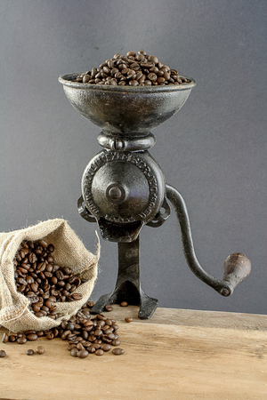 coffee with old coffee grinder