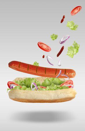 Floating Hot Dog Zdjęcie Seryjne