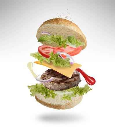 Floating Burger Zdjęcie Seryjne - 131321813