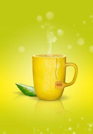 cup of creative hot lemon tea
