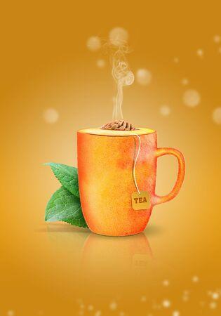 cup of creative hot peach tea