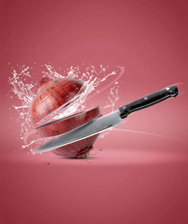 Onion cut into slices with splashes of water. creativity in the kitchen Zdjęcie Seryjne