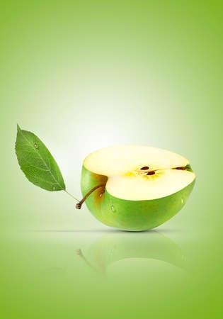Fresh sliced green apple with drops of water Zdjęcie Seryjne