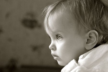 Portrait of a little baby in sepia Stock Photo - 390496