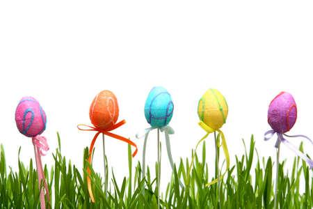 Oeufs de Pâques colorés sur fond blanc