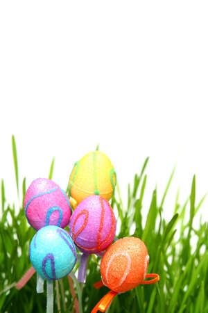 Colorful Easter eggs on a white background photo