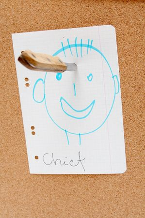 corkwood: Colorful paper stickers on a corkboard