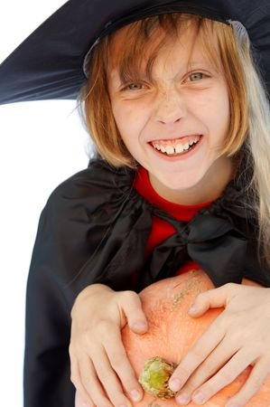 Young blond girl dresses in hallowwen witch costume. Stock Photo - 1921893