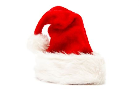 Red and white Santa Claus hat on a white background Stock Photo