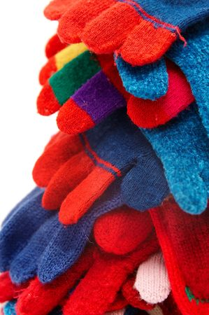 Colorful woolen gloves on a white background Stock Photo - 2074119
