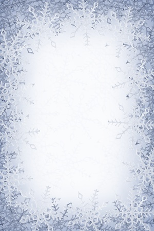 Blue and white snowflakes on a blue and white background Stock Photo