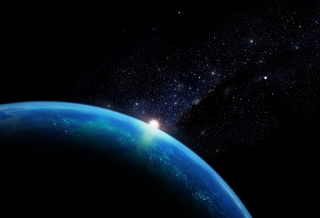 Planet with galaxy Stock Photo