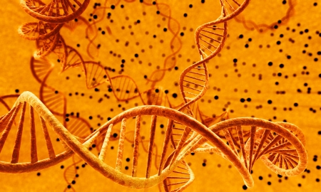 dna with infected cells Stock Photo