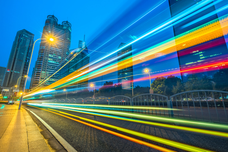 light trails in the downtown district, shanghai, china.