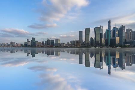 shanghai cityscape and skyline, copy space. Stock Photo