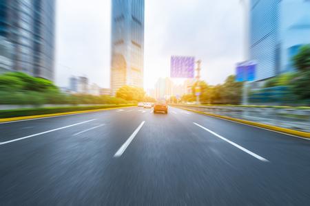 Blurred urban traffic in the city of shanghai