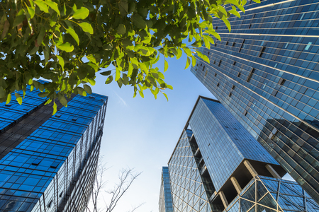 view of contemporary glass building with green trees, shanghai, china. Stock Photo