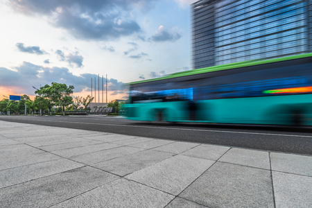 modern architecture, motion blur car at dusk Stock Photo