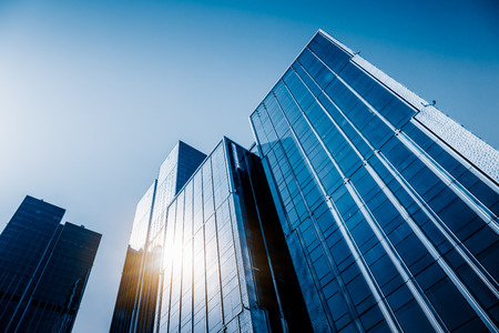low angle view of skyscrapers in city of China Stock Photo