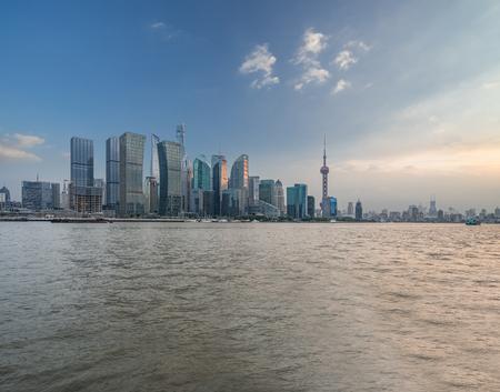 Shanghai skyline panorama,landmarks of Shanghai with Huangpu river in China. Stock Photo