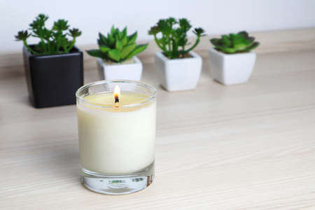 aromatic scent glass candles and small cactus in the pot are displayed on the table in the white bedroom during Christmas season