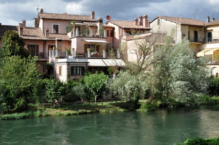 houses near velino river, rieti Stock Photo