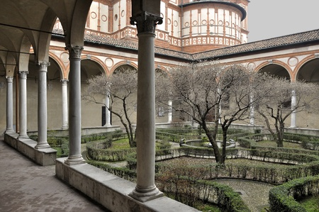 foreshortening: Milan (Italy), 20110227: foreshortening of rinascimental cloister of the famous church in city center, shot in winter smooth light