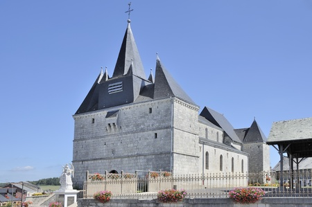 fortified: notre dame fortified church, liart, ardennes