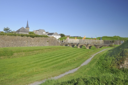 moat wall: city wall and moat, rocroi, ardennes