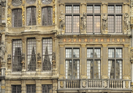 ornated: ornated facades on grand place, brussels  Editorial