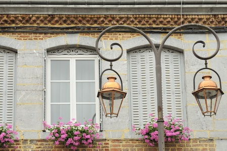 lamp post: doppia lampione, Revin, Ardenne Archivio Fotografico
